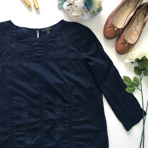 J. Crew Navy Blue Embroidered Cotton Peasant Top